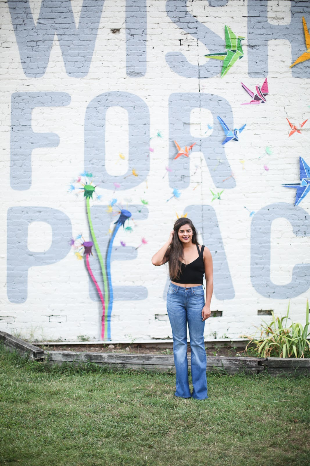 Priya the Blog, Nashville fashion blog, Nashville fashion blogger, Nashville style blog, Nashville style blogger, Nashville mural, Nashville Wish for Peace mural, Summer outfit, Madewell Flea Market Flares, flared jeans, how to wear flared jeans, knit crop top, Zara knit crop top, how to wear a knit crop top,