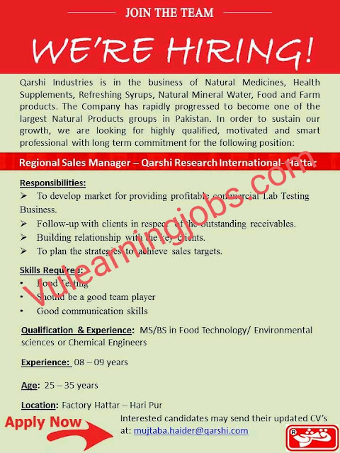 Qarshi Research International Jobs 2020 In Pakistan For Regional Sales Manager Latest