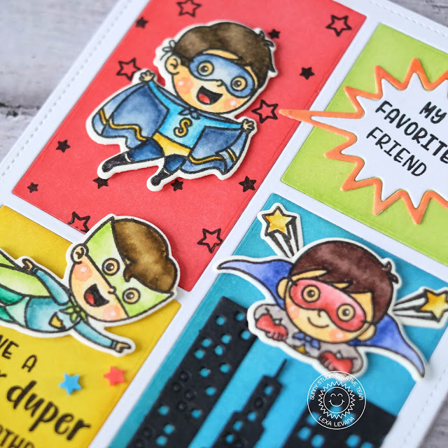 Sunny Studio Stamps: Super Duper Cityscape Border Dies Comic Strip Speech Bubble Dies Super Hero Themed Card by Lexa Levana