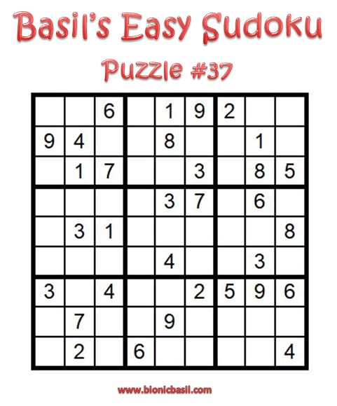 Basil's Easy Sudoku Puzzle #37 Brain Training with Cats ©BionicBasil® Downloadable Puzzle Fur Purrsonal Use Only