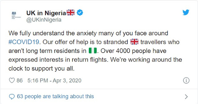 COVID-19: Over 4,000 UK citizens seek evacuation from Nigeria