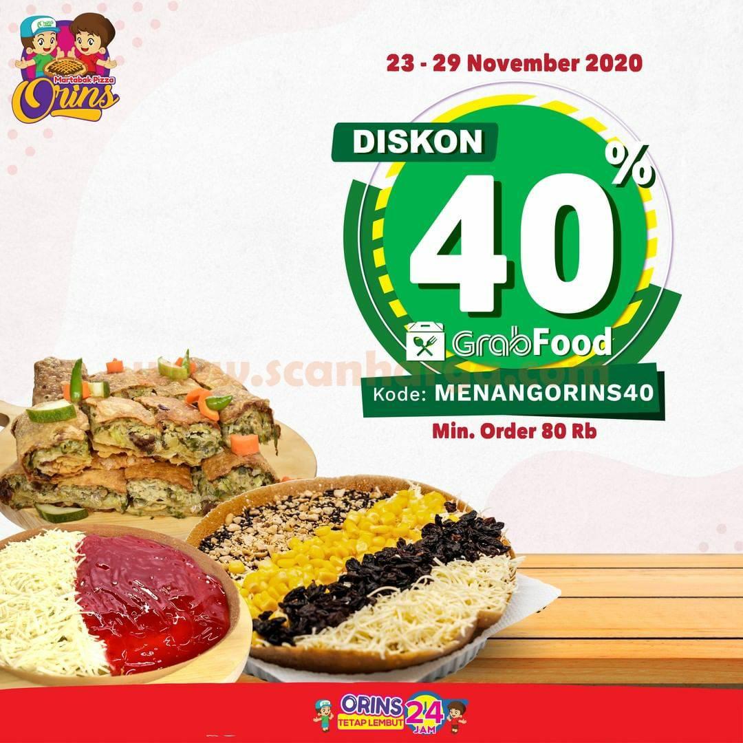 Harga Promo Martabak ORINS Diskon 35% Khusus pemesenan via Grabfood 23 - 29 NOVEMBER 2020