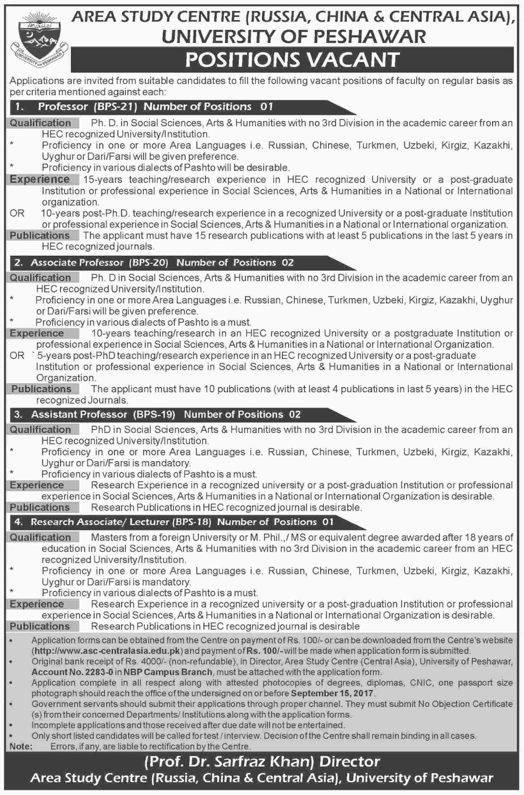 jobs in University Of Peshawar aug 2017