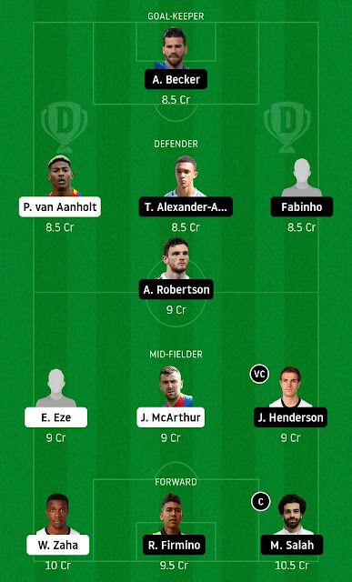Crystal palace vs Liverpool Fantasy Football Team by Dream11 Guru