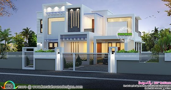 contemporary box type white home 2224 sq ft kerala home