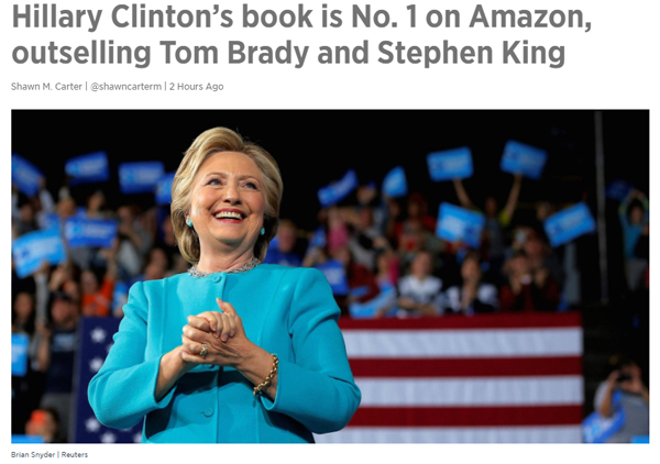 screenshot of CNBC headline with accompanying photo of Hillary Clinton smiling