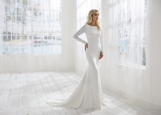 Randy Fenoli Fitted Simple Long Sleeve Bridal Dress with open back