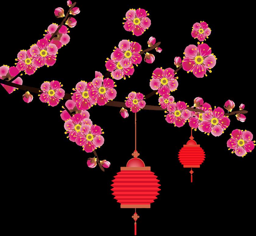 cành hoa, lồng đèn trung thu