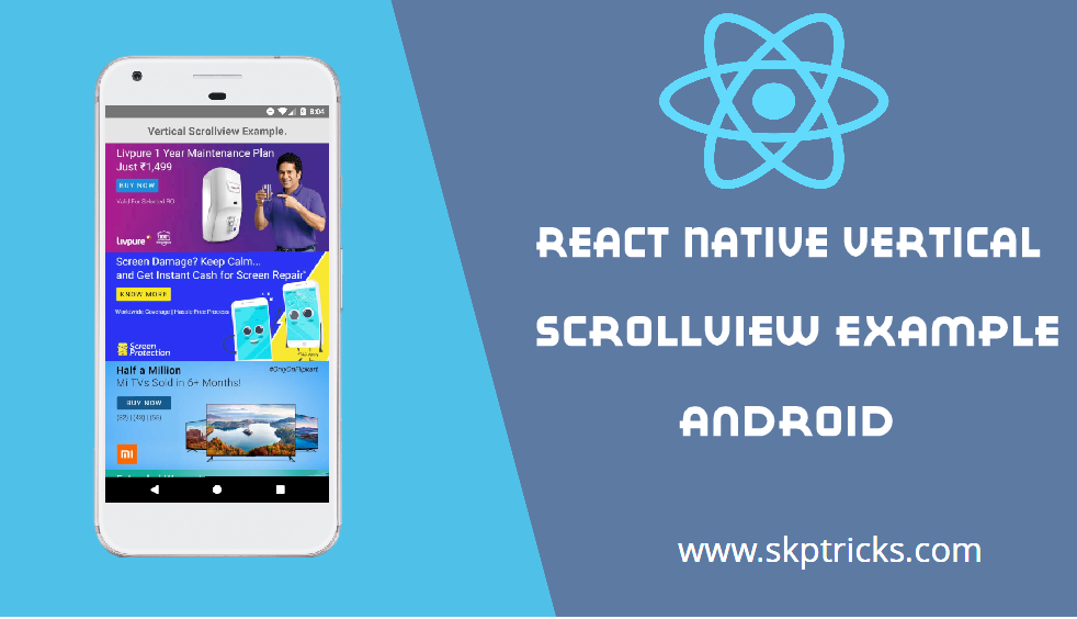 React Native Vertical ScrollView Example Android | SKPTRICKS