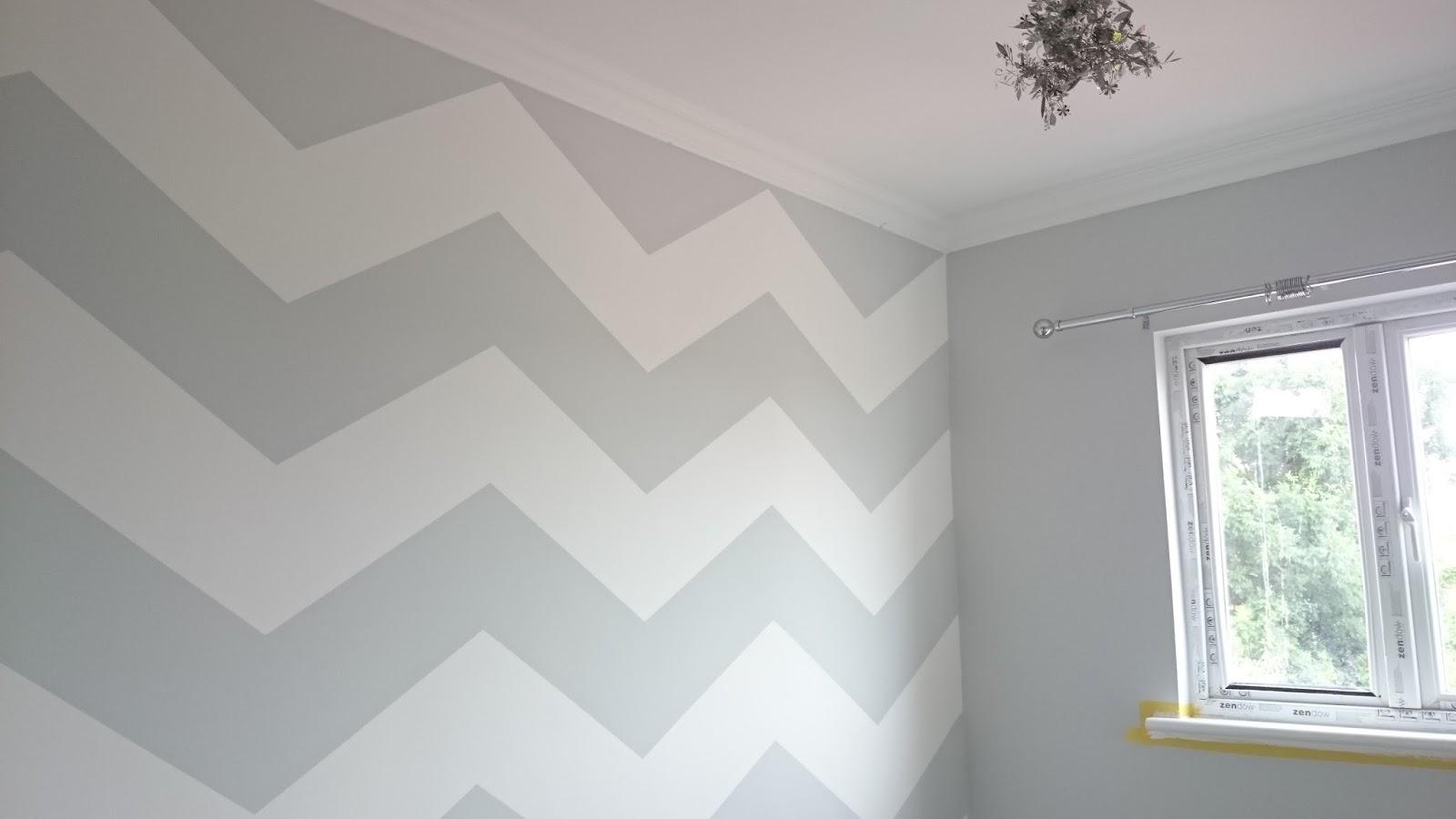 Pinterest Grey And White Chevron Wall Nursery Baby Room Paint Zig Zag Gender Neutral