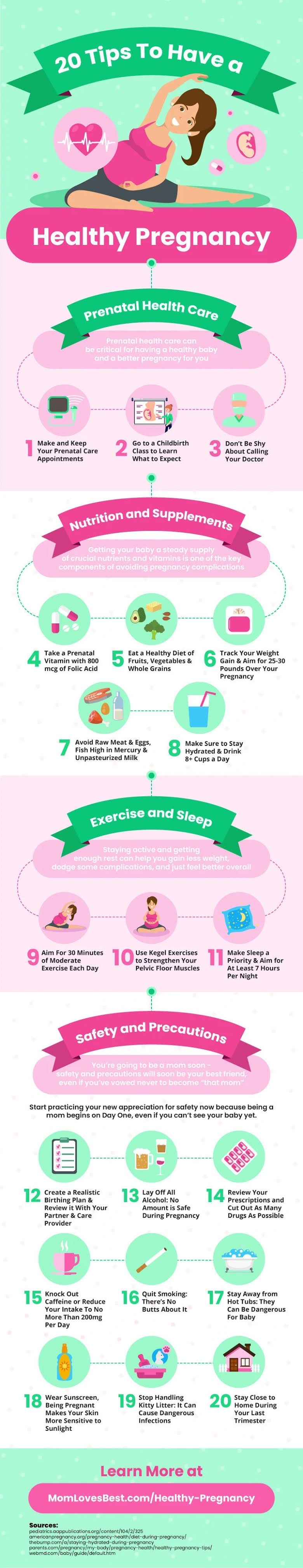20 Tips To Help You Have a Healthy Pregnancy #infographic