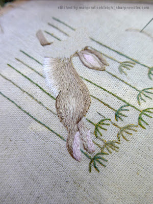 Jenny McWhinney's Queen Anne's Lace Travelling Work Station: Embroidered hare's body in long and short stitch shading