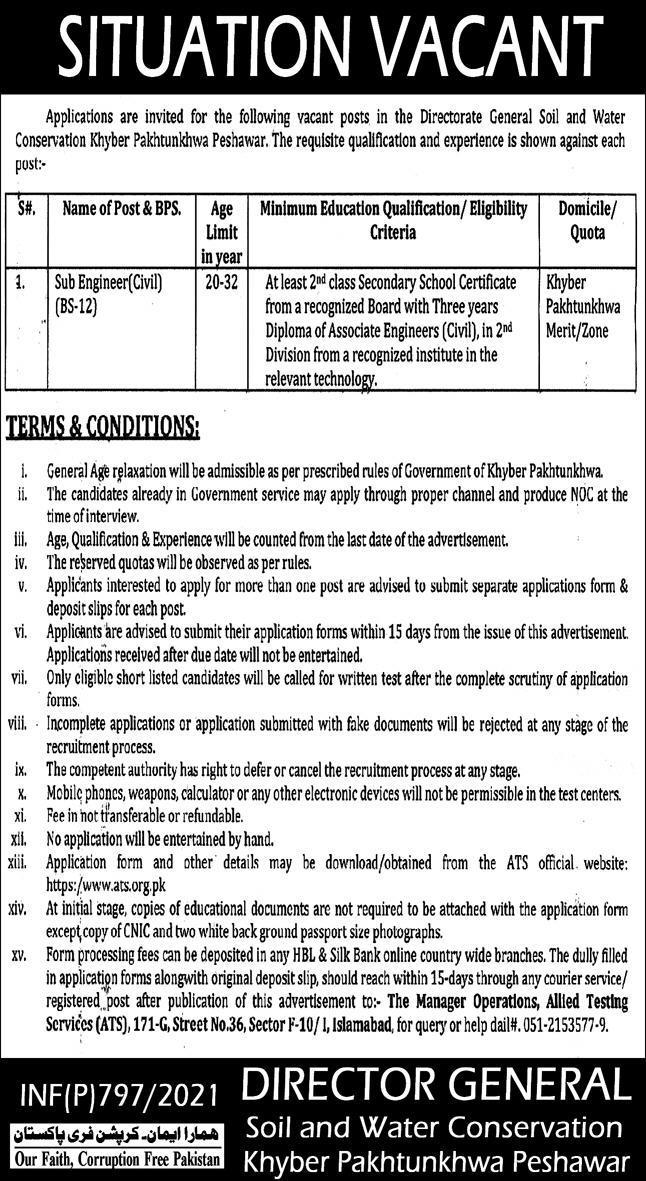 Directorate General of Soil and Water Conservation Job 2021 in Peshawar KPK via ATS