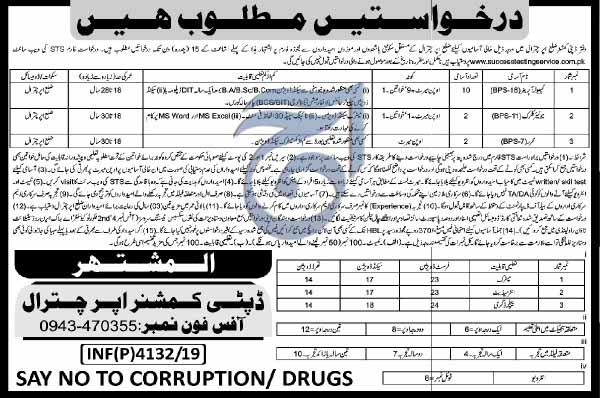 STS Jobs in Deputy Commissioner Office Chitral Oct 2019