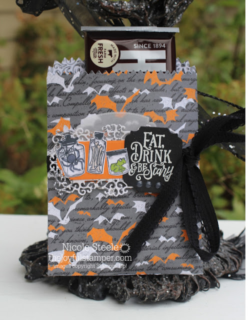Halloween mini treat bag using Stampin' Up!'s Monster Bash suite | by Nicole Steele The Joyful Stamper