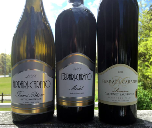 Ferrari-Carano Sonoma County Fumé Blanc 2014, Sonomy County Merlot 2013, Alexander Valley Reserve Cabernet Sauvignon 2013