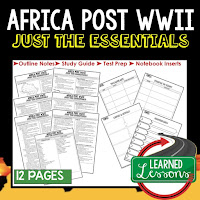 Africa Post WWII, World History Outline Notes, World History Test Prep, World History Test Review, World History Study Guide, World History Summer School Outline, World History Unit Overview, World History Interactive Notebook Inserts