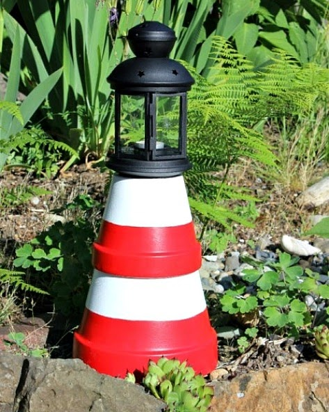 Painted Terra Cotta Pot Lighthouse
