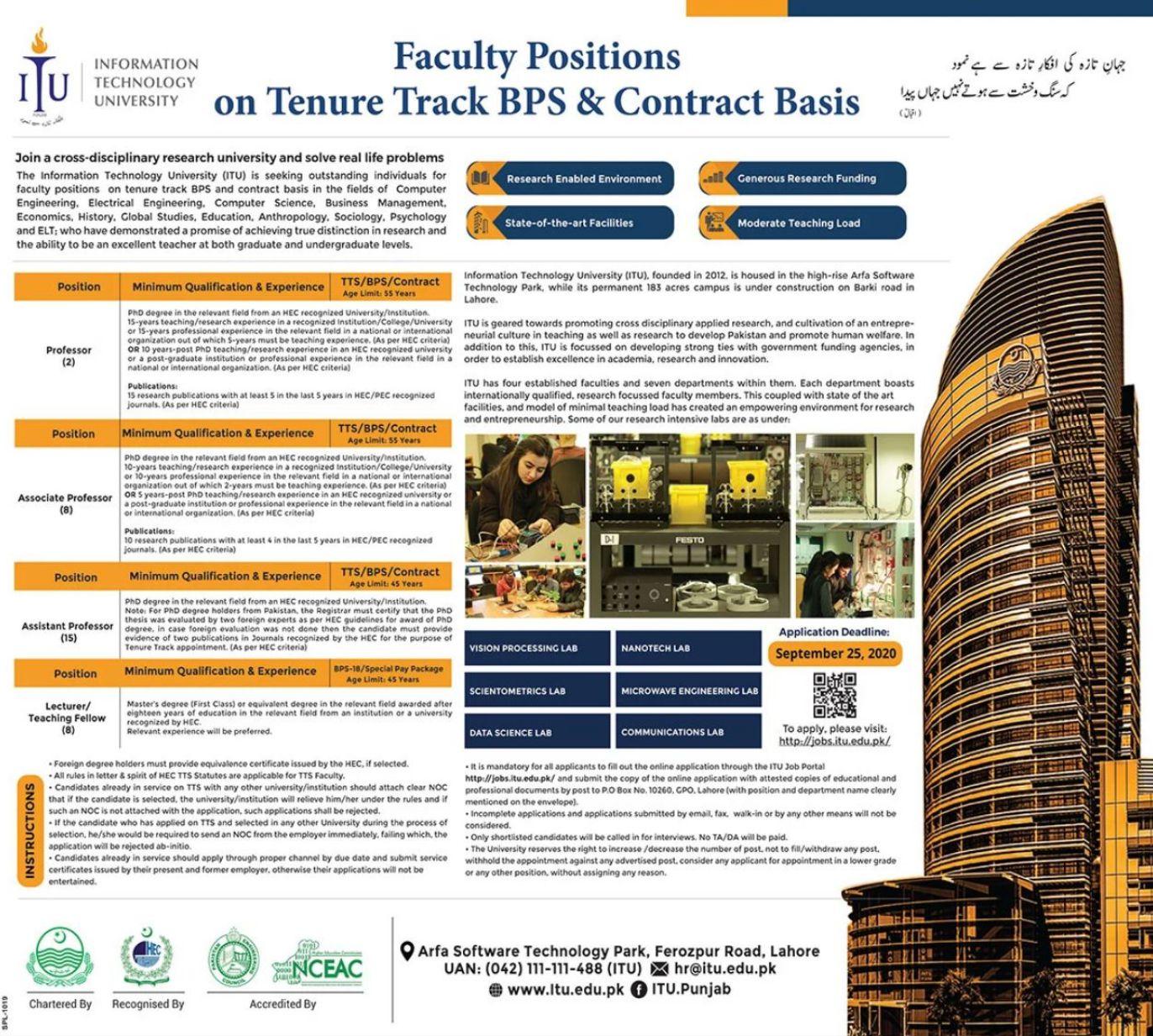 Public Sector Educational Institution Jobs 2020   ITU University Lahore