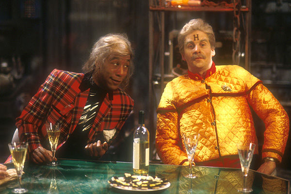 Cat and Rimmer's future selves in Red Dwarf 6: Out of Time