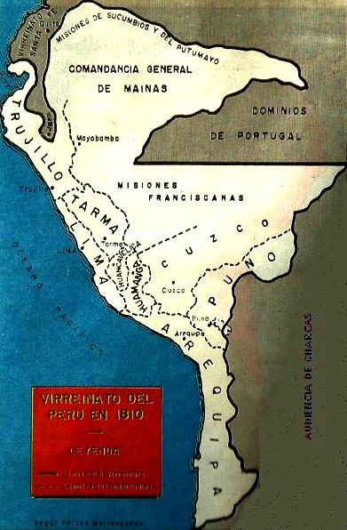 Dibujo del Mapa del Perú del Virreinato del año 1810 a color