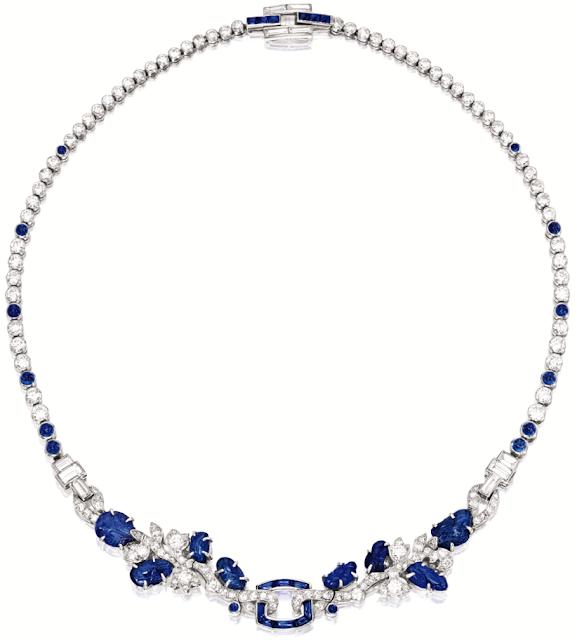 Art Deco sapphire and diamond necklace, Cartier