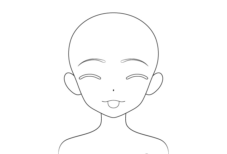 Gadis anime lidah keluar menggoda menggambar garis wajah