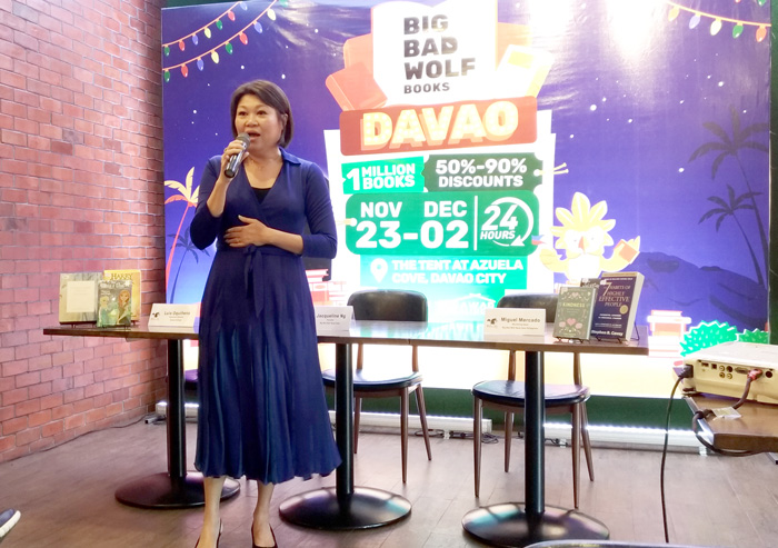 Jacqueline Ng, Founder of Big Bad Wolf Book Sale   during the press briefing at Union Market, Davao City