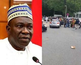 IPOB members attack former Deputy Senate president, Ike Ekweremadu in Germany, throw stones at him