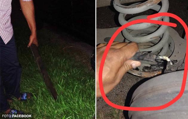 (Video) 'Ini punca kami accident' - Nyaris maut dirempuh lori gara-gara batang besi di tengah jalan