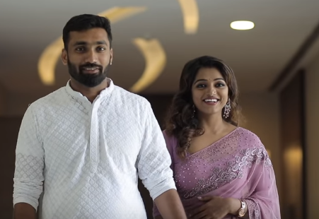 V anchor Meera Anil marriage with Vishnu Engagement Photos