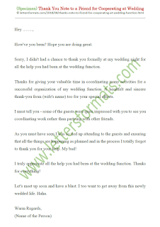 Thank You Note to a Friend for Helping with Wedding Function