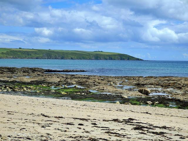Looking across Spit Beach to Gribbin Head, Cornwall