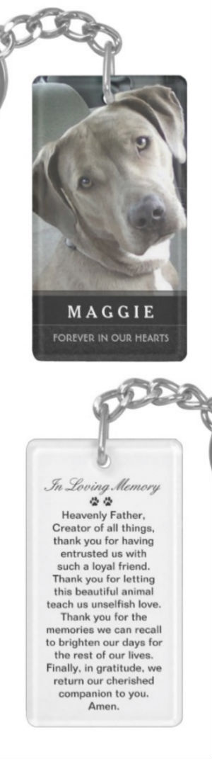 pet memorial keychain featuring prayer for pets on back by Julie Alvarez