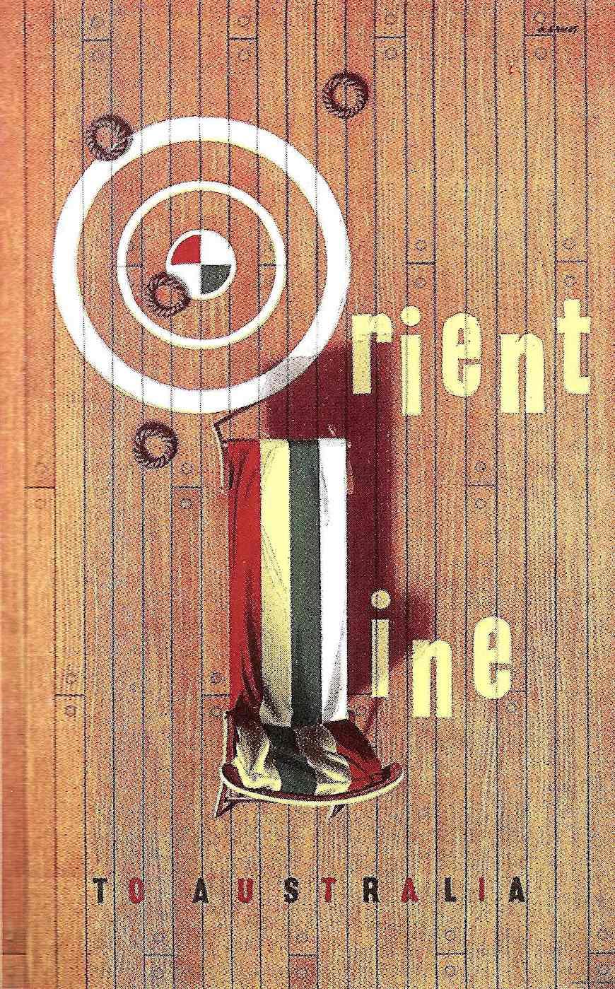 an Abram Games poster illustration, 1954 Orient line to Australia, a deck chair