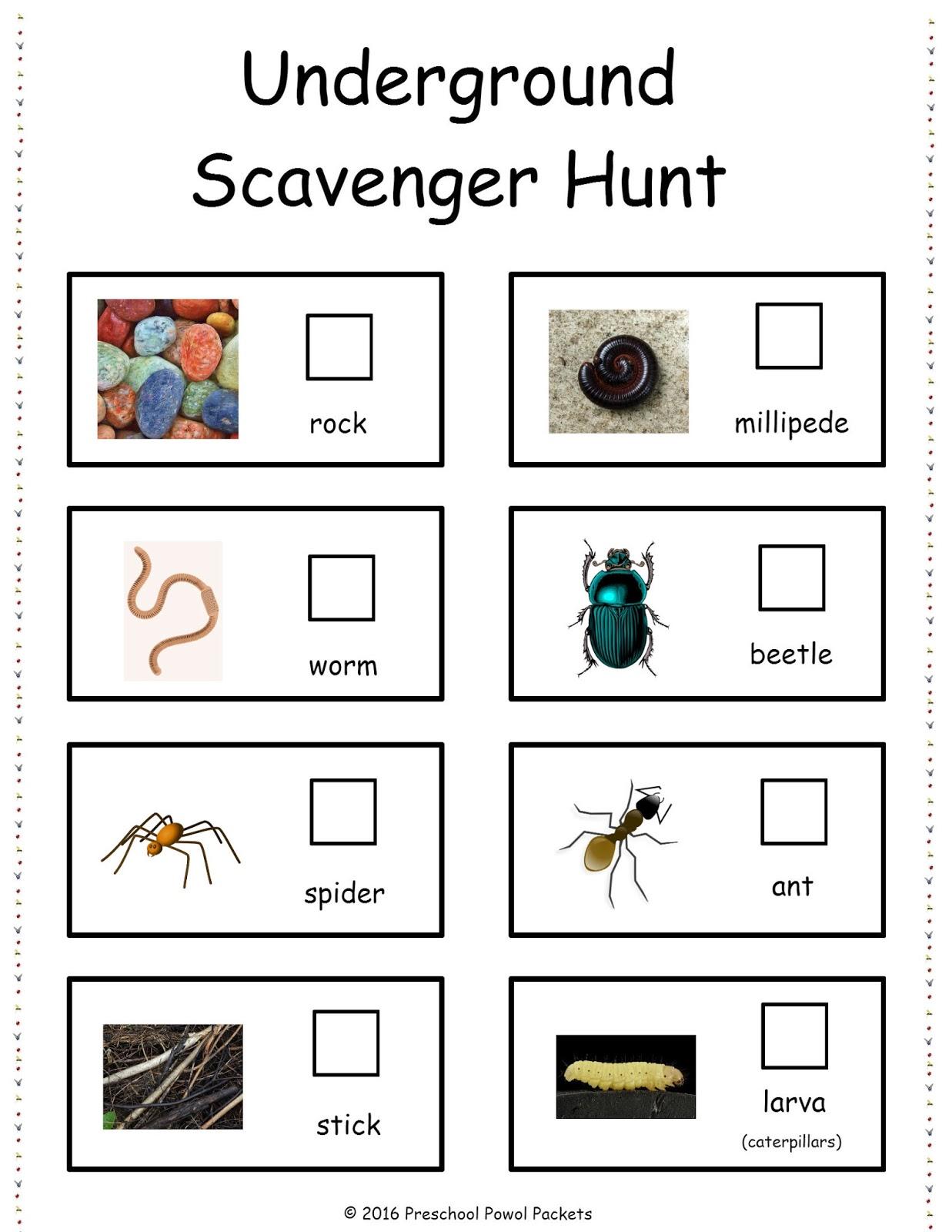 u is for free underground scavenger hunt preschool powol packets