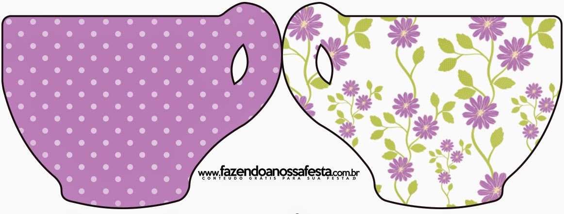 Tarjeta con forma de Taza de Flores Moradas.