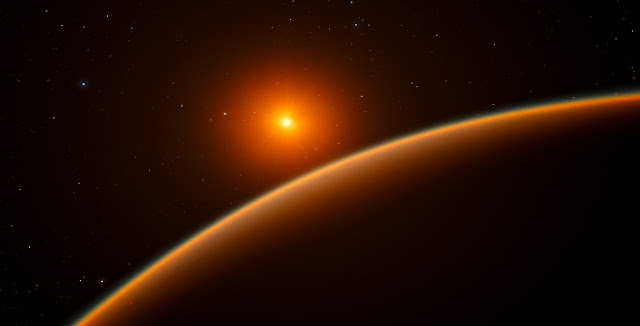 "This artist's impression shows the exoplanet LHS 1140b, which orbits a red dwarf star 40 light-years from Earth and may be the new holder of the title ""best place to look for signs of life beyond the Solar System"". Using ESO's HARPS instrument at La Silla, and other telescopes around the world, an international team of astronomers discovered this super-Earth orbiting in the habitable zone around the faint star LHS 1140. This world is a little larger and much more massive than the Earth and has likely retained most of its atmosphere. Credit: ESO/spaceengine.org"