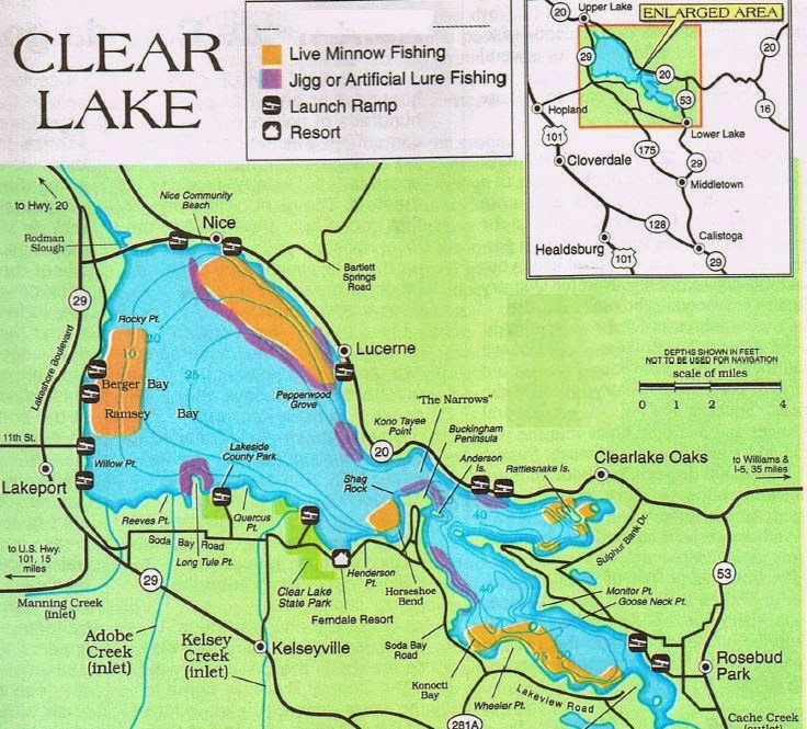 2018 clear lake fishing map fishing report and where to for Fish lake ca