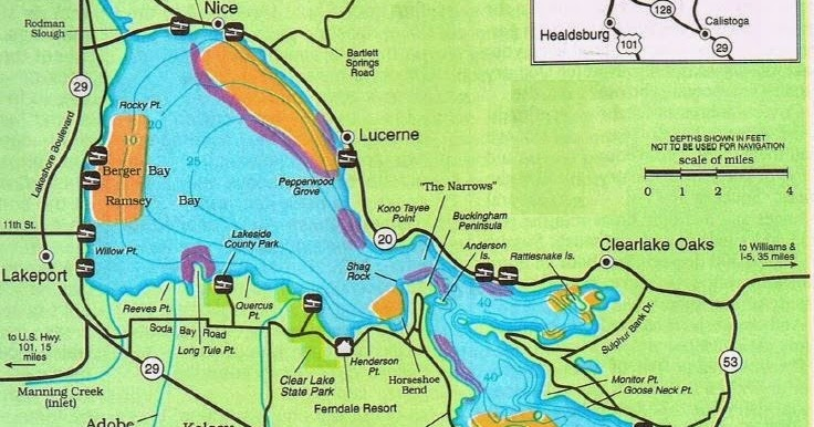 2016 clear lake fishing map fishing report and where to for Clear lake fishing