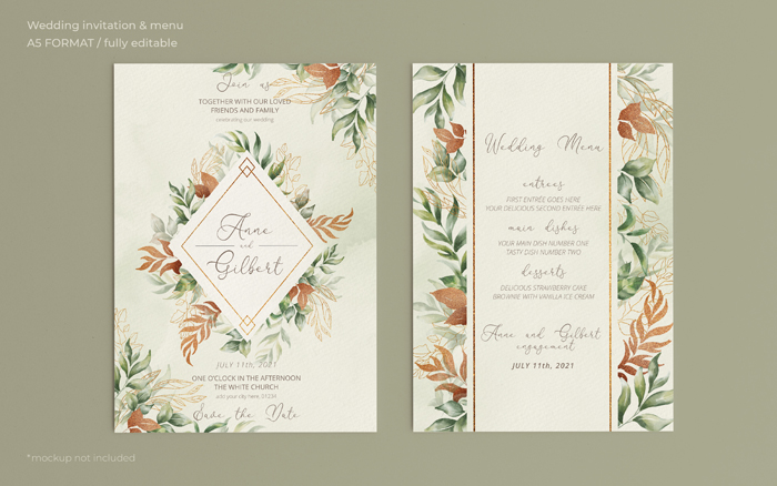 Elegant Wedding Invitation Menu Template With Romantic Leaves