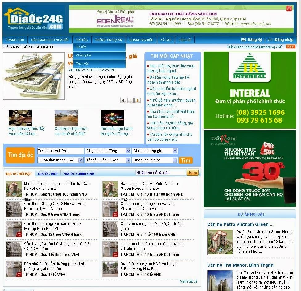 thiết kế web bất động sản giá rẻ