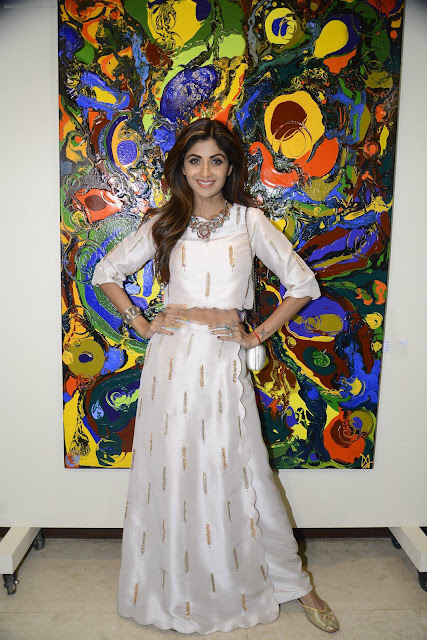 Shilpa Shetty in Crop Top and Overlay Palazzo Pants at Anu Malhotra Art Exhibition