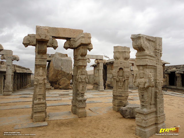 Beautifully sculpted pillars in the unfinished Kalyana Mandapa, or Marriage Hall inside the Veerabhadra Swamy Temple complex at Lepakshi, in Andhra Pradesh, India