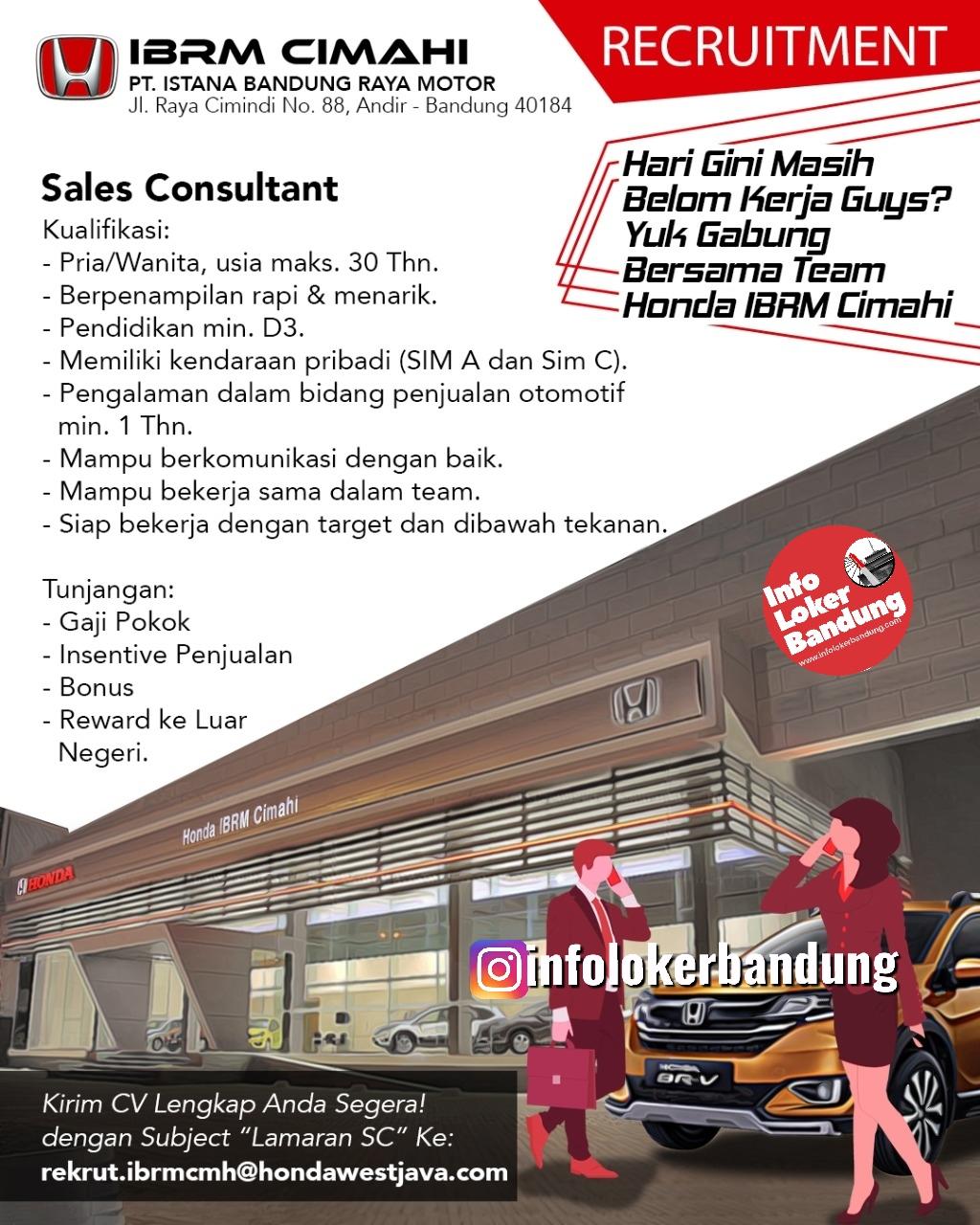 Lowongan Kerja Honda IBRM Cimahi & Bandung Februari 2020