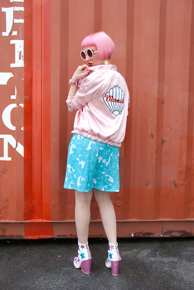 mermaid satin bomber jacket, valfre, blogger style