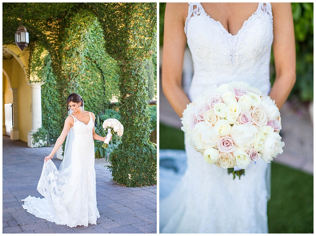 elegant bride with white and pink rose wedding bouquet at Omni Montelucia