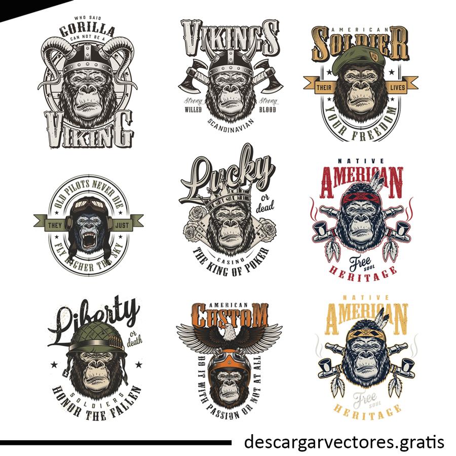 vectores de gorilas y monos