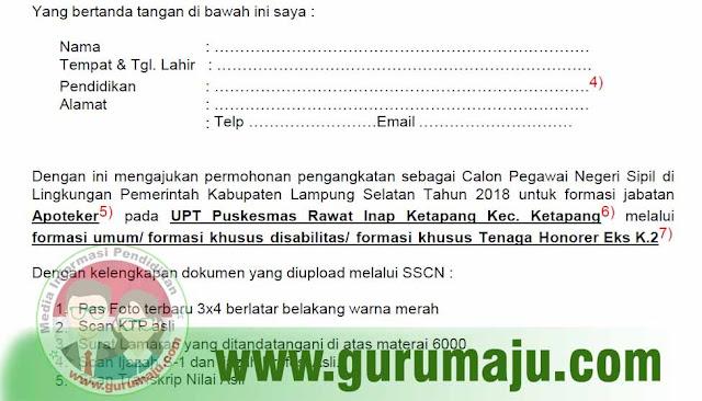 Format Surat Lamaran CPNS 2018 Kabupaten / Kota di Provinsi Lampung