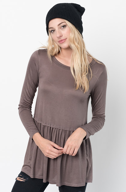 Buy Now Brown Ruffled Long Sleeve Tunic Online $34 -@caralase.com